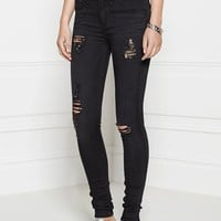 Distressed Ripped High Rise Skinny Jeans - Black