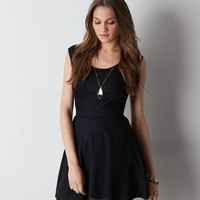 AEO Crocheted Paneled Dress, Black | American Eagle Outfitters