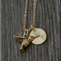 Gold Hummingbird Necklace, Initial Charm Necklace, Personalized Necklace, Bird Charm Necklace, Hummingbird pendant, Hummingbird Jewelry