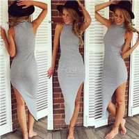 Stylish Lady Women's Sexy Irregular High Collar Sleeveless Asymmetric Hem Slim Dress VVF = 5737719169