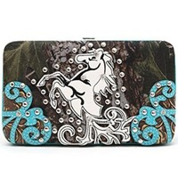 Pretty Camo Western Studded Horse Flat Wallet Clutch Purse