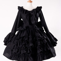 Black Gothic Lolita Goth Loli Cotton Dress and Detachable Bow Cosplay Costume Custom Size including Plus Size