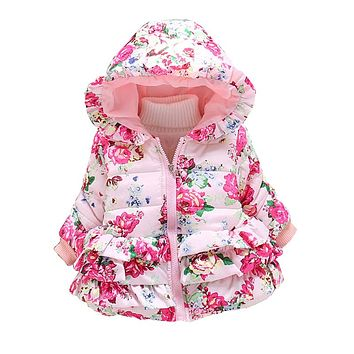winter girls jacket baby girls warm down parka children girls flower snowsuit jackets kids winter outerwear for girls