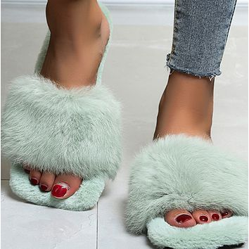 New style fluffy outer wear flat-bottomed fashion slippers women shoes
