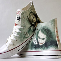Joker and Harley inspired custom shoe decoration with your name in Joker's card (if you want)