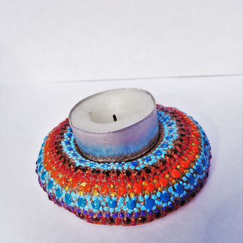 Bohemian tea light Artisan stone Painted stone Boho decor Stone candle holder