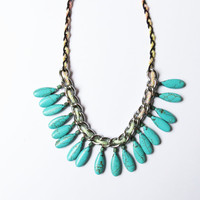 Teal, pastel and silver bib necklace / Statement necklace, boho chic, handmade