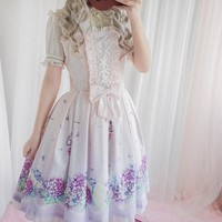 Girls Sweet Lolita Dress Pink  Japanese Sleeveless Sundress with Bow JSK Suspender Dresses with headband