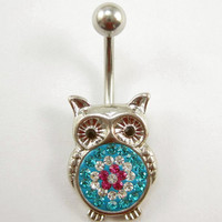cute owl gem Belly button Ring Silver pierced piercing Accessary 316L medical stainless steel Hypoallergenic navel ring nail