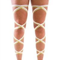 Pair of RaveReady White and Gold Glitter Elastic Ribbon Leg Wraps : Rave Fluffies Wraps