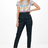 Petite Louise High Waisted Check Tapered Trouser   Boohoo