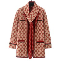 GUCCI Autumn Winter Classic Trending Women Stylish Hollow Knit Long Sleeve Cardigan Jacket Coat
