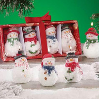 24 Decorative Christmas Snowman Candles - Unscented