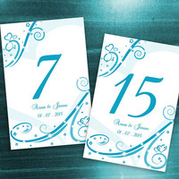 DIY Printable Wedding Table Number Template | Editable MS Word file | 4 x 6 | Instant Download | Turquoise Blue Heart Romance