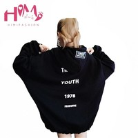 Oversize Letter Print Long Hoodies Women Autumn Winter Casual Thicken Sweatshirts Pullover Harajuku Plus Size 2XL Zipper Hoodies