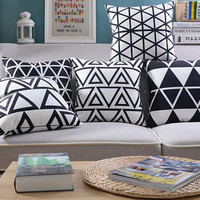 """18""""*18"""" Home Decor Designer Black White Abstract Geometric Floral Throw Cushion Cover Pillow Case for Chair Sofa Wedding Gifts"""