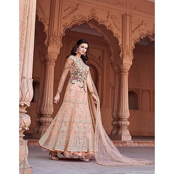 Majestic Blush Peach Embroidered Indo-Western Anarkali Gown - D. No. 1629