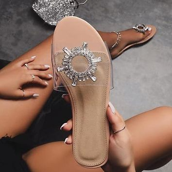 2020 ladies shoes transparent pvc sandals and slippers sun flower diamond large size flat sandals shoes apricot