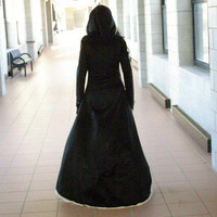 The Lunamoon gothic hooded crushed velvet gown dress any size Fantasy