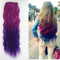 Uniwigs® Ombre Dip-dye Color Clip in Hair Extension 55-60cm Length Rose Red to Dark Purple Loose Curl for Fashion Girls Tbe0013