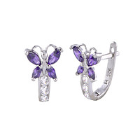 Sterling Silver Leverback Earrings Butterfly CZ Birthstone Colors - Two Color