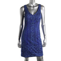 Sue Wong Womens Embroidered Open Back Cocktail Dress