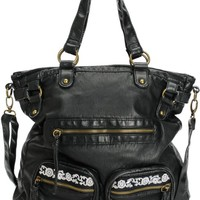 T-Shirt & Jeans Black Embroidered Tote Bag