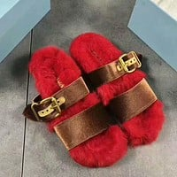 PRADA Rabbit Hair Casual Sandal Slipper Shoes Flip Red I-AGG-CZDL Tagre™