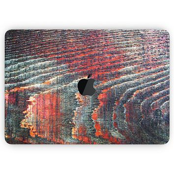 """Grungy Orange and Teal Dyed Wood Surface - Skin Decal Wrap Kit Compatible with the Apple MacBook Pro, Pro with Touch Bar or Air (11"""", 12"""", 13"""", 15"""" & 16"""" - All Versions Available)"""