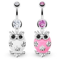 "Stainless Steel Fluffy Owl Paved Clear & Black Gem Navel Belly Button Ring - 14 GA 3/8"" Long (Sold Ind.)"