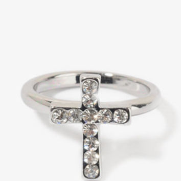 Rhinestoned Mini Cross Ring