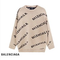 Balenciaga Fashion New More Letter Print Women Men Leisure Long Sleeve Top Sweater Apricot