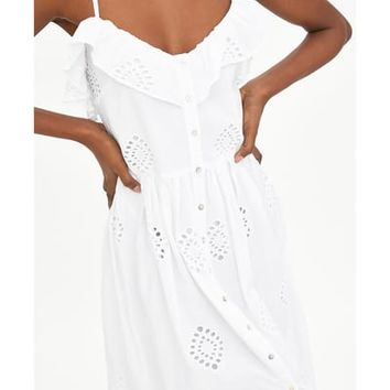 PERFORATED DRESS WITH EMBROIDERY