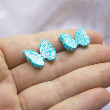 butterfly stud earring turquoise cute stud butterfly blue butterfly stud for everyday little butterfly small gift for her black polymer clay