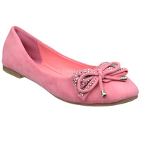 Womens Tassel Accent Studded Bow Ballet Flats Coral
