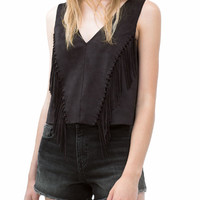 V-neck Sleeveless Fringed Cropped Top