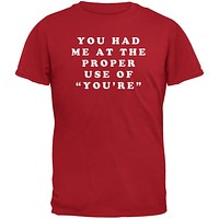 Grammar Police Proper Use You're Funny Red Adult T-Shirt
