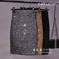 Cakucool New Bling Gold Lurex Skirt Bodycon Pencil Skirts High Elastic Korea Empire Mid Long Skirt Sequin Sexy Club Khaki Silver