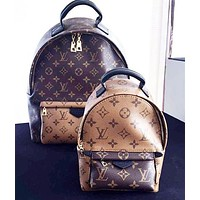 LV Louis Vuitton Fashion New Tartan Monogram Leather Women Daypack School Bag Backpack
