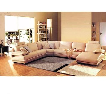 Tailored Traditional Classic Leather Sectional Sofa Set