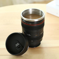 Camera Lens Stainless Steel Travel Coffee Mug with Leak-Proof Lid Gift