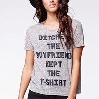 MinkPink Ditch The Boyfriend T-Shirt - Womens Tee - Gray