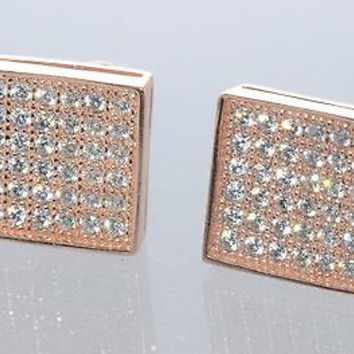 Mens Womens Screwback CZ Stud Earrings .925 Silver Rose Gold Plated Square 9mm