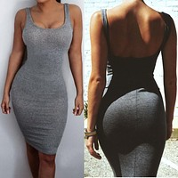 Women Hip Dress Bandage Bodycon Mini Dress High Waist Slim Solid Casual Dresses