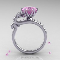 Art Masters 14K White Gold 3.0 Ct Light Pink Sapphire Dragon Engagement Ring R801-14KWGLPS