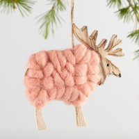 Raw Wood And Wool Reindeer Ornaments Set Of 3