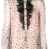 Red Valentino Ruffle Trim Star Print Collarless Shirt - Farfetch