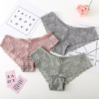 2018 Sexy women thongs breathable briefs lace hollowed-out cotton panties low-rise lingerie