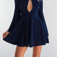 Casual Navy Blue Cut Out Draped Backless Cross Back Long Sleeve Mini Dress
