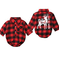 Pudcoco Baby Girls And Boys Unisex Clothes Christmas Plaid Rompers born Baby 0-18 Monthes Fits One Piece Suit Cartoon Elk